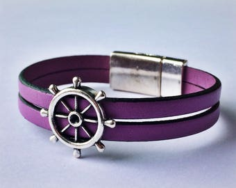 Lilac 2-Strand Nautical Leather Bracelet with Silver Magnetic Clasp