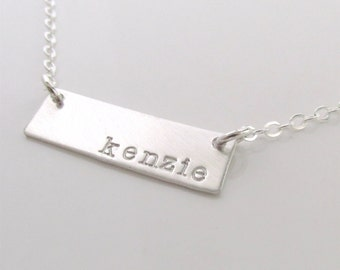 Personalized Jewelry - Silver Bar Necklace - Name Necklace - Bridesmaid Jewelry