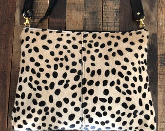 Mid Size Cheetah Cowhide Bag with Black Leather Convertible Crossbody or Clutch