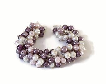 Pearl & Crystal Cluster Bracelet, Beaded Boho bracelet, Beaded jewelry, Wedding Bridesmaid gift, pearl cluster bracelet, Pearl Jewelry