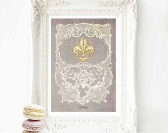 Fleur de lis French art print, vintage decor in grey, white and gold, A4 giclee