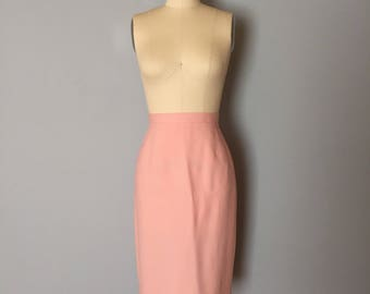 BLUSH PINK wool mini skirt | 1970s wool pencil skirt | wool pencil skirt