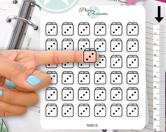 Clear Dice Stickers Game Stickers Planner Stickers Erin Condren Functional Stickers Daily Chore Stickers Live Planner NR816