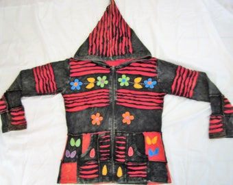PIXIE HOODED ~ Handmade Colorful Hippie Festival Jacket!