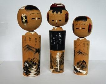 Set of Three Vintage Kokeshi Dolls