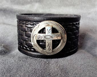 Handcrafted Leather Cuff with Embossed Basket Weave Pattern and Cross/Fish Concho