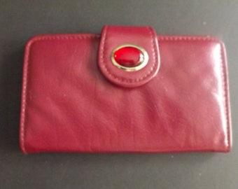 Vintage Leather Wallet, Vintage Wallet, Burgundy, Vintage Handbag, Retro, Women's Billfold, Brooch, Genuine Leather