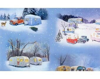 Blue Christmas Retro Travel Trailer Fabric, Elizabeths Studio ELS3500 BLU, Camping Fabric, Vintage Campers, Glamping, Winter Fabric, Cotton