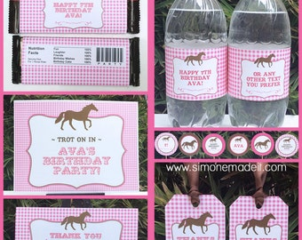 Horse Party Invitations & Decorations - full Printable Package - Pony Party - INSTANT DOWNLOAD - EDITABLE text - you personalize