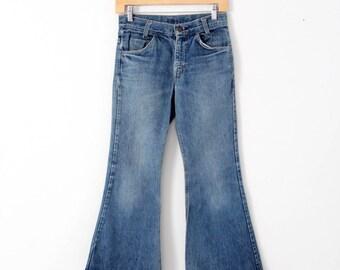 Levi's vintage jeans, 1970s denim flares, 784 bell bottoms, 27 x 26
