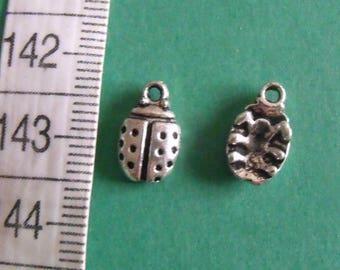 ladybug charm, set of 6, silver charm, ladybug, 12mmx7mm, creation jewels
