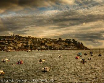 Sunset Harbour view photo,  evening light over water, Fowey, colourful sunset seascape print, tranquil art in various sizes