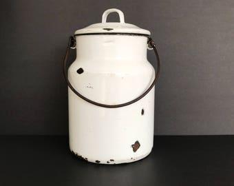 Enamel Milk Pail Lidded Farmhouse Porcelain Enameled Ware