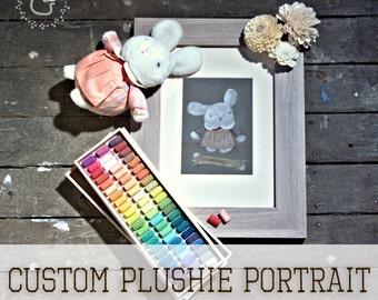 Custom Plushie Portrait - Original Bespoke Soft Toy Pastel Paintings