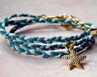 Wrap bracelet Starfish Gold color white blue