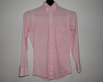 Vtg Solid Pink Arrow Brigade Dress Shirt Button Down Collar Long Sleeve Fitted Tailored Dressy Classic Style Office Business Formal Menswear