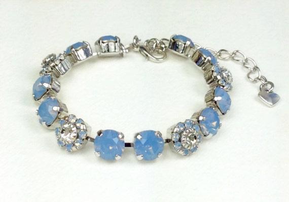 "Swarovski Crystal 8.5mm Bracelet With Flowers - ""Blue Bells"" - Spring Flowers  For Your Wrist! - Designer Inspired - FREE SHIPPING"