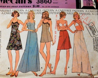 Vintage lingerie pattern McCall's 3860 Slip, camisole and half slip pattern Size 18
