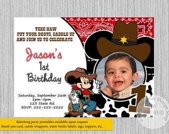 Cowboy mickey invite Etsy