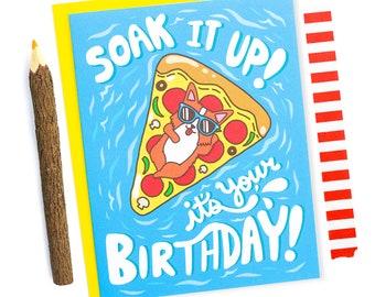 Pizza Birthday Card, Corgi Card, Funny Birthday Card, Pool Party, Summer, Corgi Art, Corgi Lover Gift, Pizza Lover, Floats, Card For Her