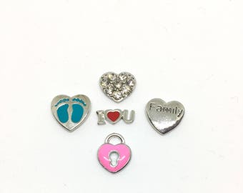 "Floating Charms, ""Family"", 5 pieces"