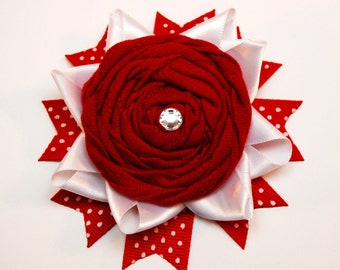 Candy Apple Red and White Ribbon Hair Clip