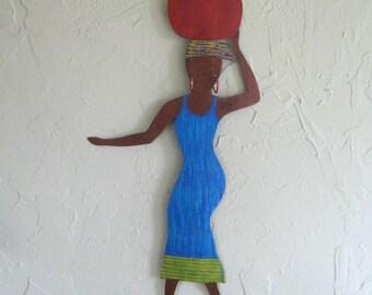 Metal Wall Art Market Lady Sculpture African Wall Decor Recycled  Metal Wall Sculpture Cobalt Blue Turquoise Tribal Art 10 x 20