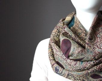 Swirl pattern Brown/green/tan paisley infinity scarf, Pashmina scarf, handmade scarf, women gift, mom gift, coworker gift, Christmas gift