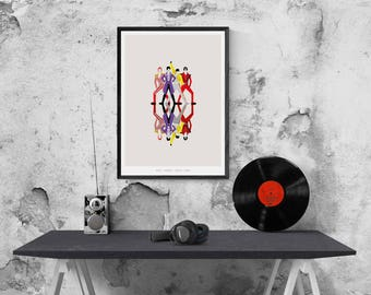 David Bowie - Prince - Mercury - Michael Jackson inspired Print - Illustration poster - Matte or Giclee Art Prints - Abstract Music Prints