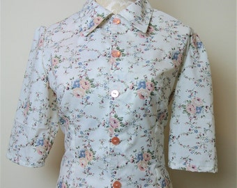 Beautiful rose print, vintage inspired blouse