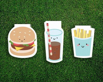 Magnetic Bookmark Set | Burger Hamburger Cheeseburger French Fries Chips Cola Quirky Kawaii Novel Unique Fast Food Cheese Tomato Lettuce
