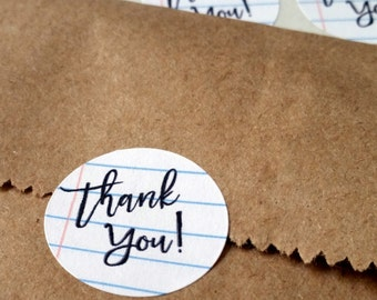 Thank you stickers - 1 inch circles - Thank you card seals - thank you labels