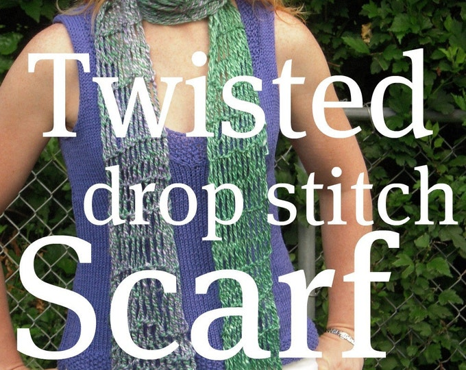 PDF Handspun Scarf Pattern Twisted Drop Stitch Knitting Digitial Download SELL items knit from this