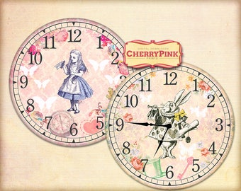 Alice in Wonderland Clock, printable party decor, diy paper crafting digital collage sheet, INSTANT DOWNLOAD
