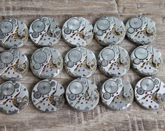 "Set of 15  watch movements 0.85 "" (22 mm) - Featured - Steampunk jewelry supplies - Watch parts for art ... Vintage ... Steampunk Findings"