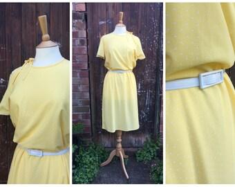 vtg 1980s Lemon Yellow POLKA DOT spotty day dress by St.Michaels matching belt // uk 16 // M-L
