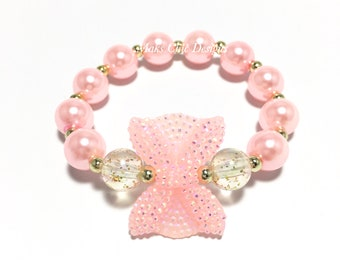 Toddler or Girls Small Beaded Pink Bow Bracelet - Pink and Gold Bracelet - Princess Pink Pearl Bracelet - Mini Bow Bracelet - Girly Bracelet