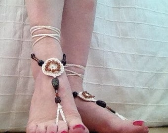 Crochet and beaded barefoot sandals ivory/cream and brown