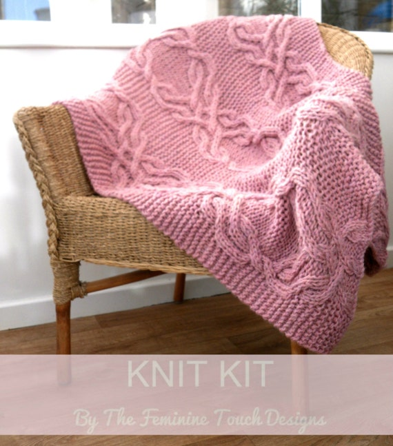 Knitting Kit For Cable Lap Blanket Cable Knit Kit Chunky Yarn