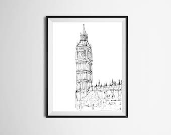 Ilustración de dibujado Big Ben de mano