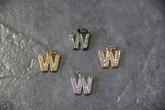 """CZ Micro Pave Letter """"W"""" Charm with Jump Ring"""