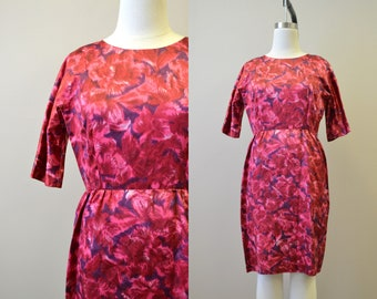 1950s Red Watercolor Floral Wiggle Dress