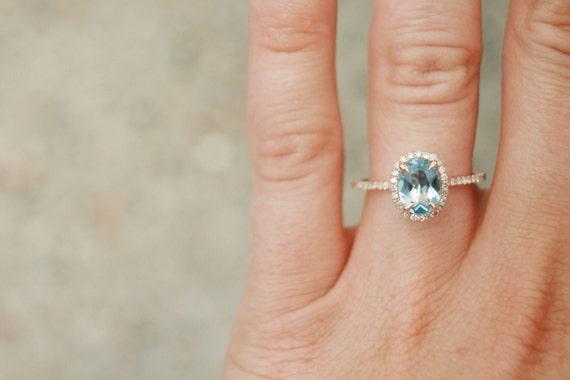 Préférence Diamant aigue-marine ovale bague de fiançailles Halo JM72