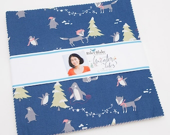 """Layer Cake, 10 Inch Squares, Winter Tales 10"""" Stacker Minki Kim for Riley Blake Designs, Christmas Fabric, Winter Animals, Childrens Fabric"""