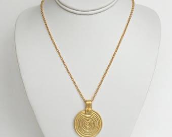 Large Grecian Round Spiral Pendant