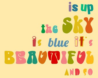 it's beautiful Art Print Text Lyrics 8 x 10 inch - inspiraional poster, quotes, SALE - buy 2 get 3, Beatles, music, 60s, 70s