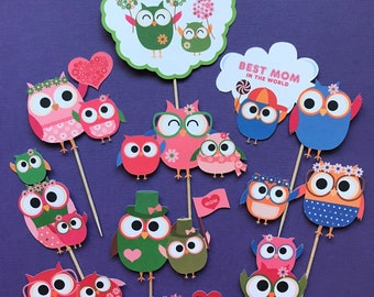 Mother's Day cupcake toppers, Mother's Day party, Mother's Day event, Mother's Day cake topper, Owls toppers, Owls cupcake toppers, Owls