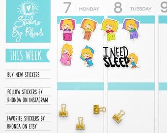 Nap Stickers - Sleep Planner Stickers -  Blonde Stickers  Functional Planner Stickers - Diary Stickers - Girl Stickers - Sleepytime Emma
