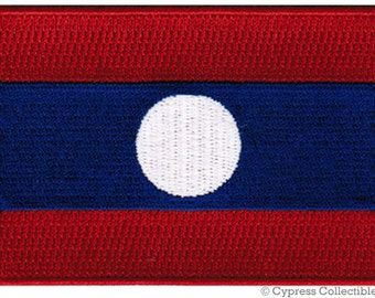LAOS FLAG PATCH iron-on embroidered applique Top Quality