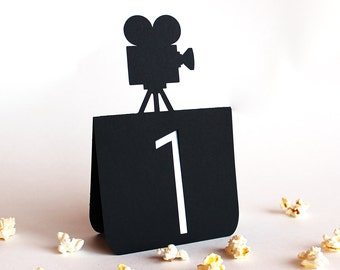 Movie Camera Table Numbers Set of 1 to 25, Wedding, Movie wedding, hollywood wedding, wedding table decor